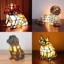 Single Light Cat/Doggy Table Light Tiffany Stylish Glass Night Light for Study Room
