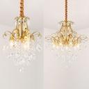 Gold Downlight Hanging Lamp 3/7 Lights Elegant Style Metal Chandelier for Cafe Dining Room