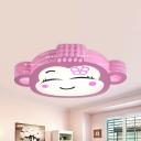 Cartoon Monkey LED Flush Mount Light Metal Stepless Dimming/Warm/White Ceiling Fixture for Girls Bedroom