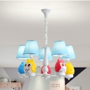 Cute Fat Owl Chandelier Five Lights Metal Suspension Light with Blue Shade for Nursing Room