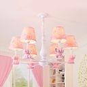 Resin Bunny Hanging Light with Fabric Shade 3/5/6/8 Heads Cute Chandelier in Pink for Girl Bedroom