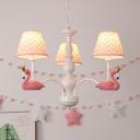 Romantic Blue/Pink Ceiling Pendant Swan Deco 3/5/6 Lights Metal Chandelier for Girls Bedroom