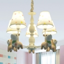 Resin Sika Deer Chandelier Child Bedroom 5 Heads Lovely Pendant Light with Tapered Shade