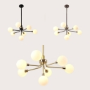 Modern Black/Coffee/Gold Pendant Light with Orb Shade 7 Heads Milk Glass Chandelier for Hallway