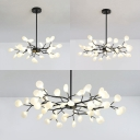 Metal Twig Pendant Light 30/45/54 Heads Contemporary Chandelier in Black Finish for Dining Room