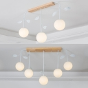 Milk Glass Spherical Island Lamp with Metal Leaf 3/5 Lights Nordic Style Island Light in White for Hallway
