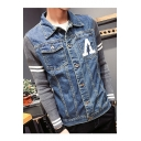 Unique Letter A Pocket Knit Patched Long Sleeve Button Front Fitted Blue Denim Jacket