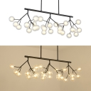 Amber/Frosted Glass Grape Island Chandelier 27 Heads Modern Style Island Light in Black for Shop