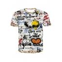 Funny Hip Hop Style Alien Letter Graffiti Print Round Neck Short Sleeve White T-Shirt