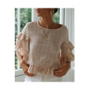 Summer Trendy Simple Plain Round Neck Layer Ruffle Flared Sleeve Loose Blouse Top