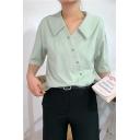 Summer Unique Designer Oblique Button Down Simple Plain Casual Shirt Blouse