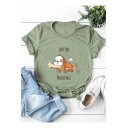 JUST DO NOTHING Cartoon Dog Pattern Short Sleeve Casual Tee