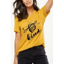 Street Style Cool Letter BEE KIND Pattern Round Neck Short Sleeve Casual Graphic Tee