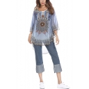 Womens Plus Size Trendy Tribal Printed Round Neck Blue Casual Loose Chiffon Blouse