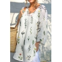 Summer Chic Leaf Plants Printed V-Neck Casual Loose Blouse Top