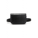 Simple Fashion Crocodile Pattern Black PU Leather Belt Bag 17*5*11 CM