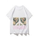 Summer Unique Geometric Block Floral Letter Printed Round Neck Casual Loose T-Shirt