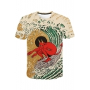 Cool Funny Surfing Devil 3D Printed Round Neck Short Sleeve Summer Tee
