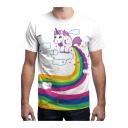 Mens Cute Rainbow Unicorn Printed Round Neck Short Sleeve White T-Shirt