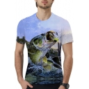Summer Stylish 3D Fish Printed Round Neck Short Sleeve Fitted Unisex T-Shirt