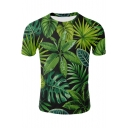 Summer 3D Green Leaf Pattern Round Neck Short Sleeve Fitted T-Shirt