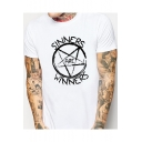 Simple Circle Star Letter SINNERS ARE WINNERS Print Short Sleeve Graphic Tee