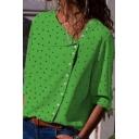 Summer New Stylish Polka Dot Print Irregular Button Down Long Sleeve Shirt Blouse