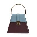 Designer Trapezoid-shaped Color Block Top Handle Satchel Handbag