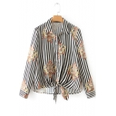 Trendy Floral Striped Printed Long Sleeve Tied Hem Casual Button Down Black Shirt