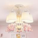 Nordic Blue/Pink Chandelier Toy Bear 5 Lights Metal Hanging Light with Tapered Shade for Kindergarten