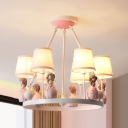 3/6 Lights Ring Chandelier with Princess Lovely Metal Hanging Light in Pink for Girls Bedroom