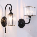 Villa Cylinder/Rectangle Wall Light Glittering Crystal 1 Head Traditional Black Wall Lamp