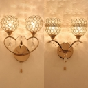 Hotel Bedroom Orb Wall Light with Striking Crystal 2 Lights Romantic Gold Sconce Light