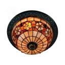 Camellia Dining Room Flush Mount Light Stained Glass Antique Tiffany Ceiling Fixture in Beige
