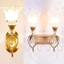 Dining Room Blossom Wall Light Clear Crystal & Metal 1/2 Bulbs Luxurious Style Gold Sconce Light