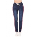 Women's Trendy Stripe Tape Side Drawstring Waist Regular Fit Dark Blue Jeans