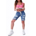 Hot Popular Drawstring Waist Distressed Ripped Blue Skinny Fit Half Denim Shorts