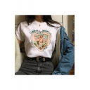 Summer Chic Floral Heart Angel Baby Printed Basic Short Sleeve White Tee