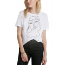 Cool Simple Abstract Figure Printed Round Neck Short Sleeve White Tee