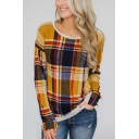 Womens Hot Popular Yellow Plaid Printed Basic Round Neck Long Sleeve Loose Fit T-Shirt