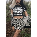 Summer Cool Letter KISSGOOD Black Checkerboard Printed Short Sleeve Off the Shoulder Cropped T-Shirt