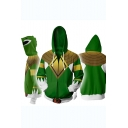 Power Rangers 3D Comic Printed Cosplay Costume Long Sleeve Zip Up Fitted Hoodie