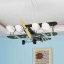 Modern Propeller Airplane Hanging Light Metal 4 Heads Camouflage LED Pendant Light for Kid Bedroom