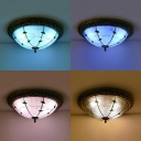 Umbrella Shade Ceiling Fixture Tiffany Style Blue/Clear/Pink/Sky Blue Glass Flush Mount Light for Cloth Shop
