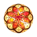 Tiffany Multi-Color Flush Mount Light Lotus Pattern Glass Ceiling Lamp for Villa Hotel