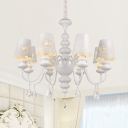 Elegant Style White Pendant Light Rose 3/6/8 Lights Metal Chandelier with Clear Crystal for Living Room
