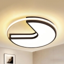 Nordic Style Circle Ceiling Mount Light Aluminum Stepless Dimming/Warm/White for Balcony