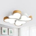 Simple Style Heart Flush Mount Light Acrylic 4 Heads White LED Ceiling Lamp in Neutral/White for Bedroom