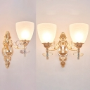 Classic Style Gold Wall Light with Crystal Leaf 1/2 Bulbs Frosted Glass Sconce Lamp for Hotel