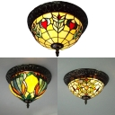 Rustic Tiffany Flush Ceiling Light Bowl Shade 2 Lights Stained Glass Ceiling Fixture for Porch